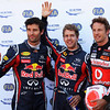 GEPA-28051199007 - FORMULA 1 - Grand Prix of Monaco. Image shows Mark Webber (AUS), Sebastian Vettel (GER/ Red Bull Racing) and Jenson Button (GBR/ McLaren Mercedes). Photo: Mark Thompson/ Getty Images - For editorial use only. Image is free of charge