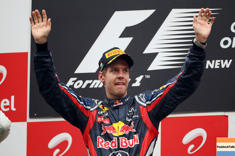 GEPA-30101199026 - FORMULA 1 - Grand Prix of India, Buddh-International-Circuit. Image shows the rejoicing of Sebastian Vettel (GER/ Red Bull Racing). Keywords: award ceremony, podium. Photo: Getty Images/ Clive Mason - For editorial use only. Image is free of charge