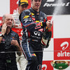 GEPA-30101199021 - FORMULA 1 - Grand Prix of India, Buddh-International-Circuit. Image shows the rejoicing of Sebastian Vettel (GER/ Red Bull Racing) Keywords: award ceremony, podium, champagne. Photo: Getty Images/ Mark Thompson - For editorial use only. Image is free of charge
