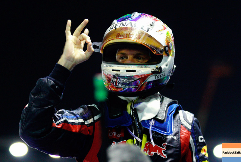 GEPA-25091199029 - FORMULA 1 - Grand Prix of Singapore. Image shows  the rejoicing of Sebastian Vettel (GER/ Red Bull Racing). Photo: Getty Images/ Paul Gilham - For editorial use only. Image is free of charge