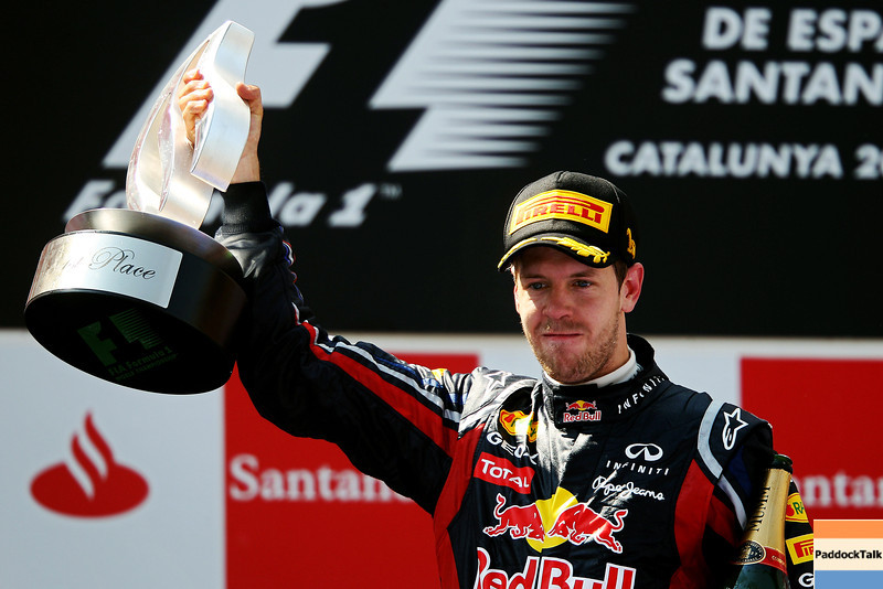 GEPA-22051199008 - FORMULA 1 - Grand Prix of Spain. Image shows Sebastian Vettel (GER/ Red Bull Racing). Keywords: award ceremony, podium, trophy. Photo: Mark Thompson/ Getty Images - For editorial use only. Image is free of charge