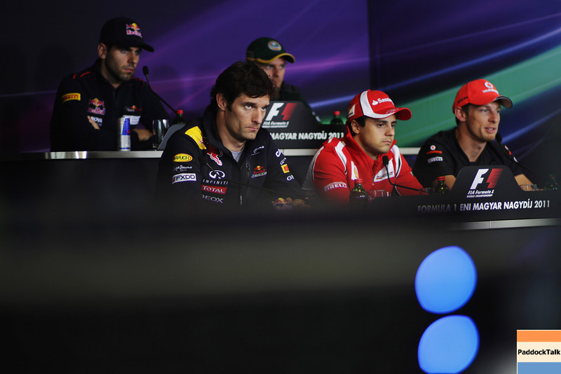 GEPA-28071199003 - FORMULA 1 - Grand Prix of Hungary, Hungaroring. Image shows Mark Webber (AUS/ Red Bull Racing), Felipe Massa (BRA/ Ferrari) and Jenson Button (GBR/ McLaren Mercedes). Keywords: press conference. Photo: Getty Images/ Vladimir Rys - For editorial use only. Image is free of charge