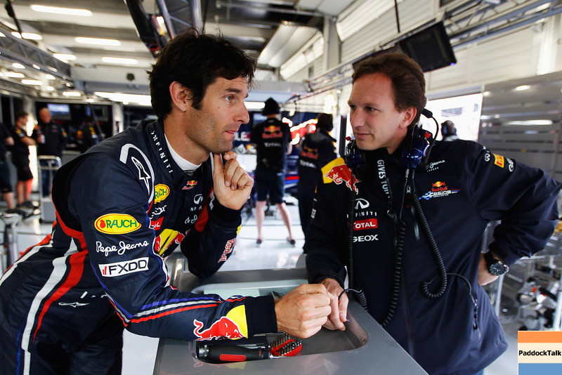 GEPA-08071199015 - FORMULA 1 - Grand Prix of Great Britain. Image shows Mark Webber (AUS/ Red Bull Racing) and Team Principer Christian Horner (Red Bull Racing). Photo: Getty Images/ Mark Thompson - For editorial use only. Image is free of charge