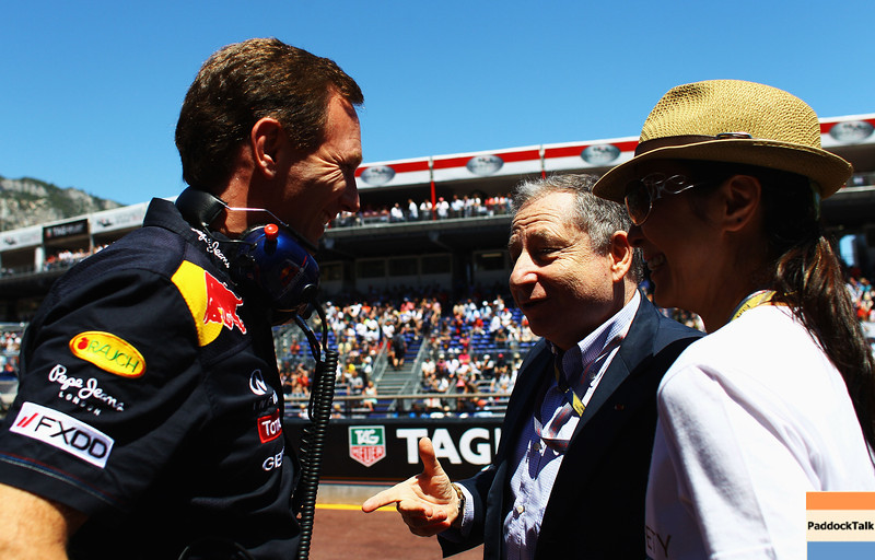 GEPA-28051199018 - FORMULA 1 - Grand Prix of Monaco. Image shows team principal Christian Horner (Red Bull Racing), president Jean Todt  (FIA) and his wife Michelle Yeoh. Photo: Vladimir Rys/ Getty Images - For editorial use only. Image is free of charge