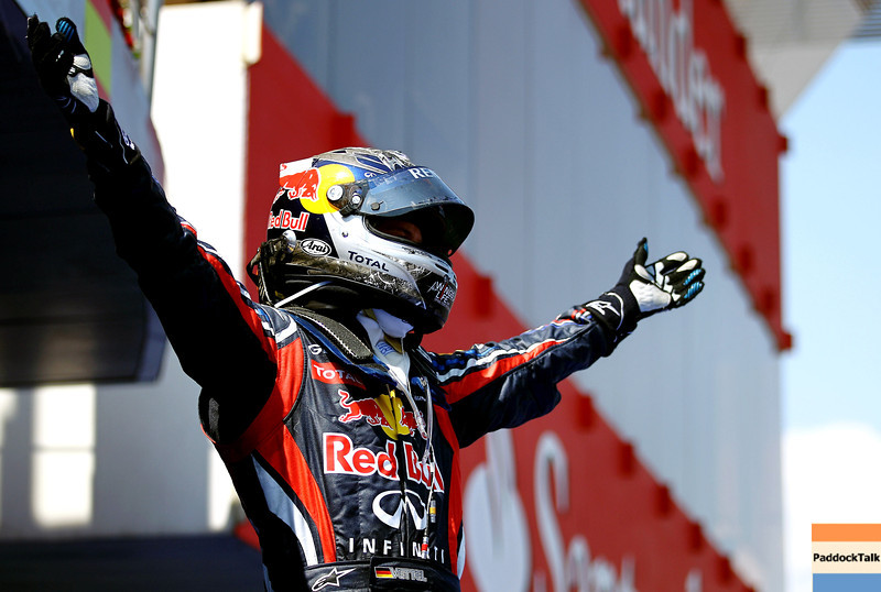 GEPA-22051199012 - FORMULA 1 - Grand Prix of Spain. Image shows the rejoicing of Sebastian Vettel (GER/ Red Bull Racing). Photo: Paul Gilham/ Getty Images - For editorial use only. Image is free of charge