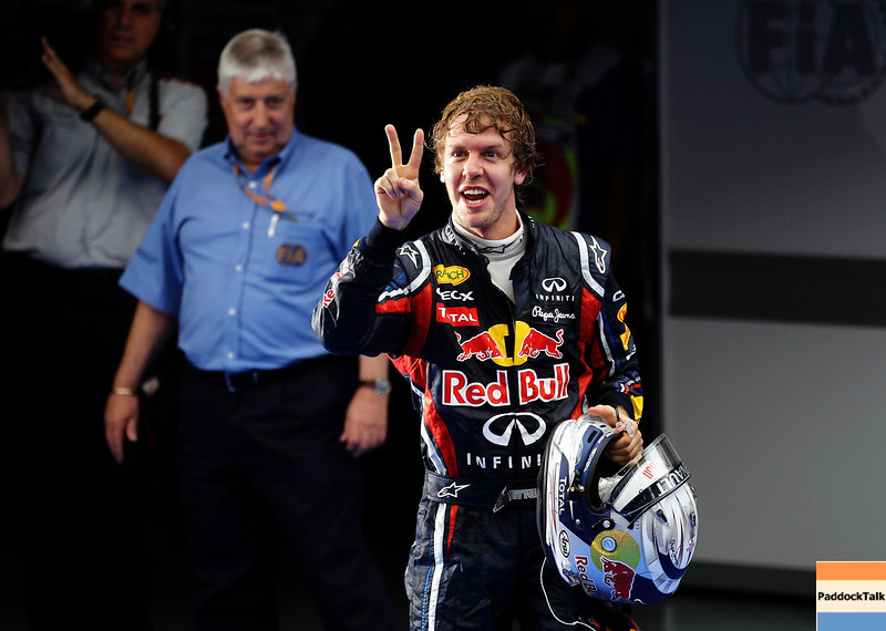 GEPA-10041199018 - FORMULA 1 - Grand Prix of Malaysia, Sepang Circuit. Image shows the rejoicing of Sebastian Vettel (GER/ Red Bull Racing). Photo: Getty Images/ Paul Gilham - For editorial use only. Image is free of charge