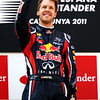 GEPA-22051199004 - FORMULA 1 - Grand Prix of Spain. Image shows Sebastian Vettel (GER/ Red Bull Racing). Keywords: award ceremony, podium. Photo: Mark Thompson/ Getty Images - For editorial use only. Image is free of charge