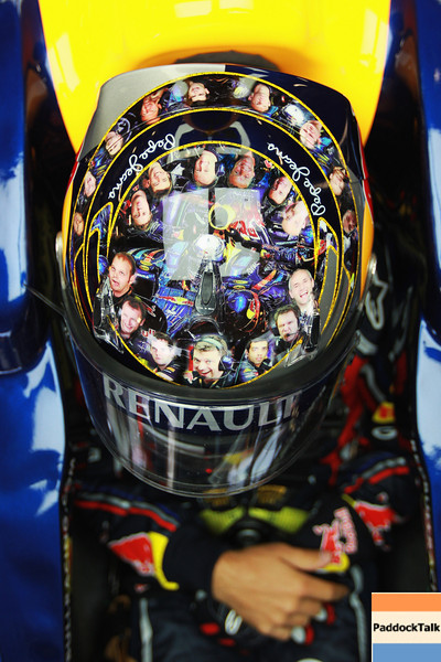 GEPA-08071199004 - FORMULA 1 - Grand Prix of Great Britain. Image shows the helmet of Sebastian Vettel (GER/ Red Bull Racing). Photo: Getty Images/ Paul Gilham - For editorial use only. Image is free of charge