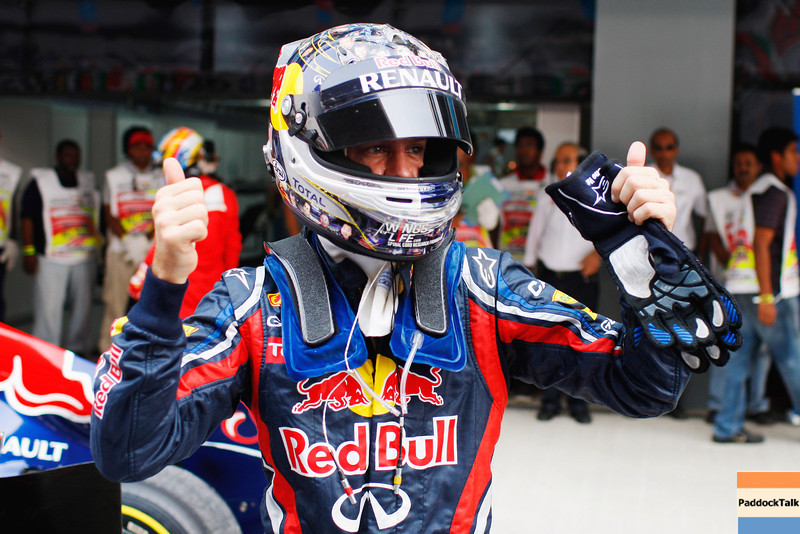 GEPA-29101199006 - FORMULA 1 - Grand Prix of India, Buddh-International-Circuit. Image shows the rejoicing of Sebastian Vettel (GER/ Red Bull Racing). Photo: Getty Images/ Mark Thompson - For editorial use only. Image is free of charge