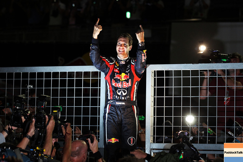 GEPA-09101199102 - FORMULA 1 - Grand Prix of Japan. Image shows the rejoicing of Sebastian Vettel (GER/ Red Bull Racing). Photo: Getty Images/ Clive Rose - For editorial use only. Image is free of charge
