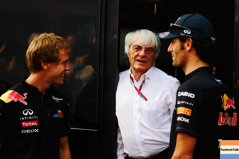 GEPA-11091199010 - FORMULA 1 - Grand Prix of Italy. Image shows Sebastian Vettel (GER/ Red Bull Racing), Bernie Ecclestone und Mark Webber (AUS/ Red Bull Racing). Photo: Getty Images/ Paul Gilham - For editorial use only. Image is free of charge
