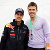 GEPA-11061199033 - FORMULA 1 - Grand Prix of Canada. Image shows Sebastian Vettel (GER/ Red Bull Racing) and Michael Carrick (Manchester United). Photo: Mark Thompson/ Getty Images - For editorial use only. Image is free of charge