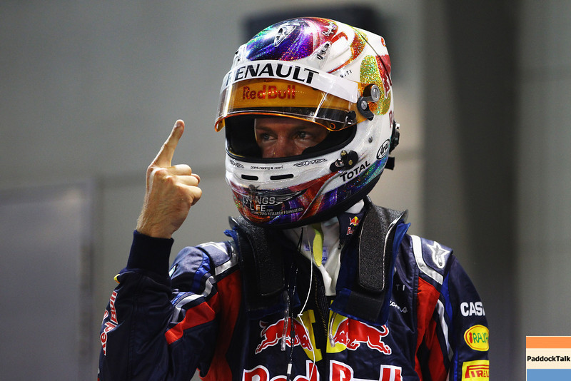GEPA-24091199004 - FORMULA 1 - Grand Prix of Singapore. Image shows the rejoicing of Sebastian Vettel (GER/ Red Bull Racing). Photo: Getty Images/ Vladimir Rys - For editorial use only. Image is free of charge