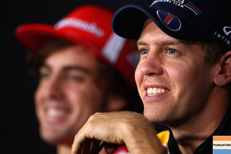GEPA-13101199001 - FORMULA 1 - Grand Prix of South Korea, Korean International Circuit. Image shows Sebastian Vettel (GER/ Red Bull Racing). Keywords: press conference. Photo: Getty Images/ Clive Mason - For editorial use only. Image is free of charge