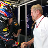 GEPA-21051199009 - FORMULA 1 - Grand Prix of Spain. Image shows Mark Webber (AUS/ Red Bull Racing) and motorsport consultant Helmut Marko (Red Bull). Photo: Mark Thompson/ Getty Images - For editorial use only. Image is free of charge