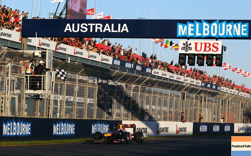 GEPA-27031199023 - FORMULA 1 - Grand Prix of Australia. Image shows Sebastian Vettel (GER/ Red Bull Racing). Keywords: finish line. Photo: Getty Images/ Robert Cianflone - For editorial use only. Image is free of charge