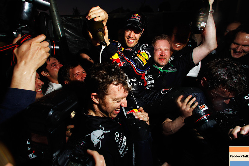 GEPA-27031199031 - FORMULA 1 - Grand Prix of Australia. Image shows the rejoicing of Sebastian Vettel (GER/ Red Bull Racing). Keyword: champagne. Photo: Getty Images/ Mark Thompson - For editorial use only. Image is free of charge