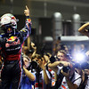 GEPA-25091199010 - FORMULA 1 - Grand Prix of Singapore. Image shows the rejoicing of Sebastian Vettel (GER/ Red Bull Racing) with camera mans. Photo: Getty Images/ Ker Robertson - For editorial use only. Image is free of charge