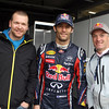 GEPA-15051134086 - SPIELBERG,AUSTRIA,15.MAY.11 - MOTORSPORT, FORMULA 1, SAILING, ALPINE SKIING - Open House Day Red Bull Ring, project Spielberg. Image shows Klaus Kroell (AUT), Mark Webber (AUS/ Red Bull Racing) and Hans-Peter Steinacher (AUT). Photo: GEPA pictures/ Markus Oberlaender - For editorial use only. Image is free of charge.