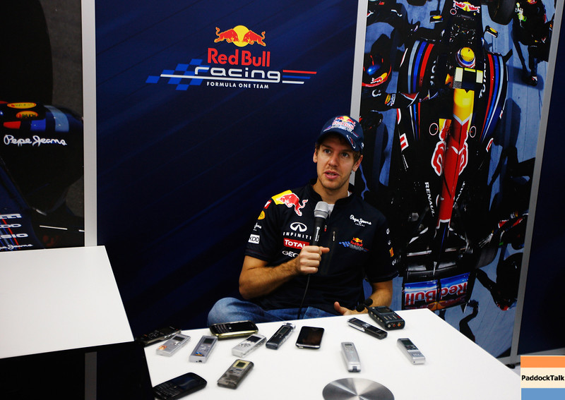 GEPA-24111199000 - FORMULA 1 - Grand Prix of Brazil, Interlagos. Image shows Sebastian Vettel (GER/ Red Bull Racing) interviewed by the media. Photo: Getty Images/ Mark Thompson - For editorial use only. Image is free of charge