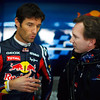 GEPA-02021199011 - FORMULA 1 - Testing in Valencia. Image shows Mark Webber (AUS/ Red Bull Racing) and team principal Christian Horner (Red Bull Racing). Photo: Mark Thompson/ Getty Images - For editorial use only. Image is free of charge