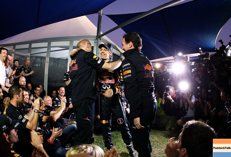 GEPA-27031199030 - FORMULA 1 - Grand Prix of Australia. Image shows the rejoicing of the Red Bull Racing Team with motorsport consultant Helmut Marko, Sebastian Vettel (GER) and  team principal Christian Horner (Red Bull Racing). Photo: Getty Images/ Paul Gilham - For editorial use only. Image is free of charge