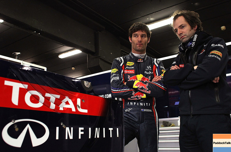 GEPA-09031199004 - FORMULA 1 - Testing in Barcelona, Circuit de Catalunya. Image shows Mark Webber (AUS/ Red Bull Racing) and race engineer Ciaron Pilbeam (Red Bull Racing). Photo: Vladimir Rys/ Getty Images - For editorial use only. Image is free of charge