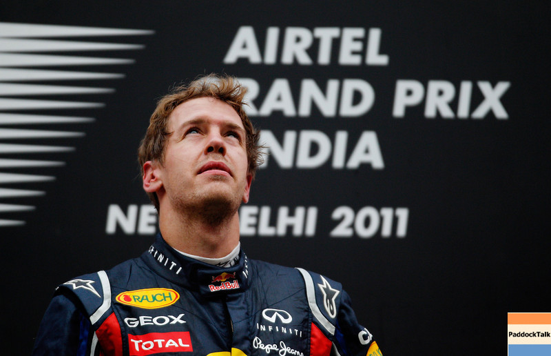GEPA-30101199023 - FORMULA 1 - Grand Prix of India, Buddh-International-Circuit. Image shows Sebastian Vettel (GER/ Red Bull Racing). Keywords: award ceremony, podium. Photo: Getty Images/ Paul Gilham - For editorial use only. Image is free of charge