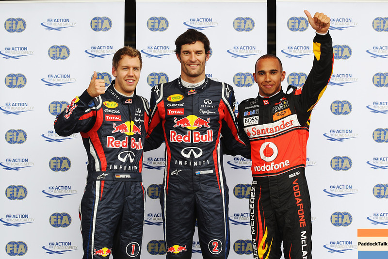GEPA-23071199006 - FORMULA 1 - Grand Prix of Germany, Nuerburgring. Image shows Sebastian Vettel (GER), Mark Webber (AUS/ Red Bull Racing) and Lewis Hamilton (GBR/ McLaren Mercedes). Photo: Getty Images/ Mark Thompson - For editorial use only. Image is free of charge