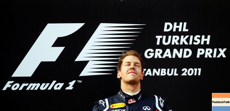 GEPA-08051199027 - FORMULA 1 - Grand Prix of Turkey. Image shows the rejoicing of Sebastian Vettel (GER/ Red Bull Racing). Keywords: award ceremony, podium. Photo: Bryn Lennon/ Getty Images - For editorial use only. Image is free of charge