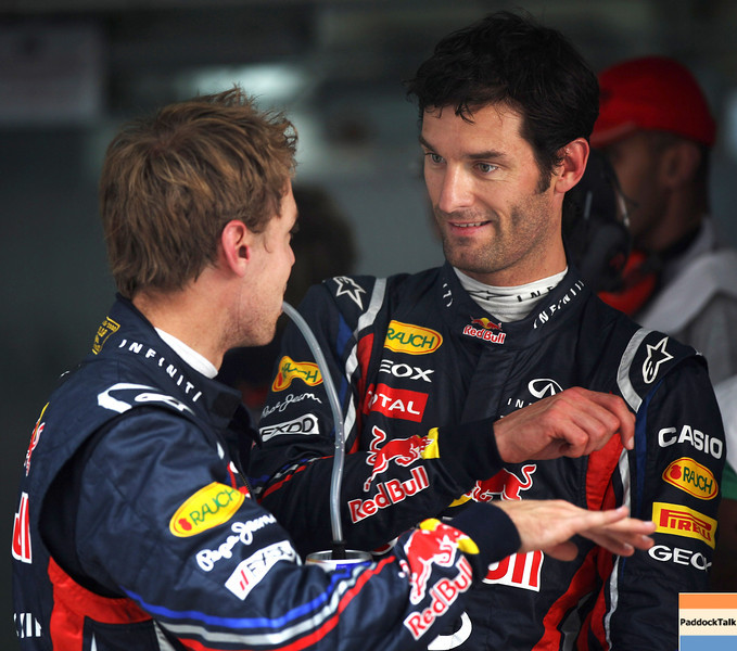GEPA-29101199013 - FORMULA 1 - Grand Prix of India, Buddh-International-Circuit. Image shows Sebastian Vettel (GER/ Red Bull Racing) and Mark Webber (AUS/ Red Bull Racing). Photo: Getty Images/ Mark Thompson - For editorial use only. Image is free of charge