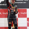 GEPA-25091199024 - FORMULA 1 - Grand Prix of Singapore. Image shows  the rejoicing of Sebastian Vettel (GER/ Red Bull Racing). Keywords: award ceremony, sparkling wine. Photo: Getty Images/ Mark Thompson - For editorial use only. Image is free of charge