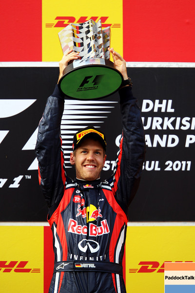 GEPA-08051199016 - FORMULA 1 - Grand Prix of Turkey. Image shows the rejoicing of Sebastian Vettel (GER/ Red Bull Racing). Keywords: podium, award ceremony, trophy. Photo: Mark Thompson/ Getty Images - For editorial use only. Image is free of charge