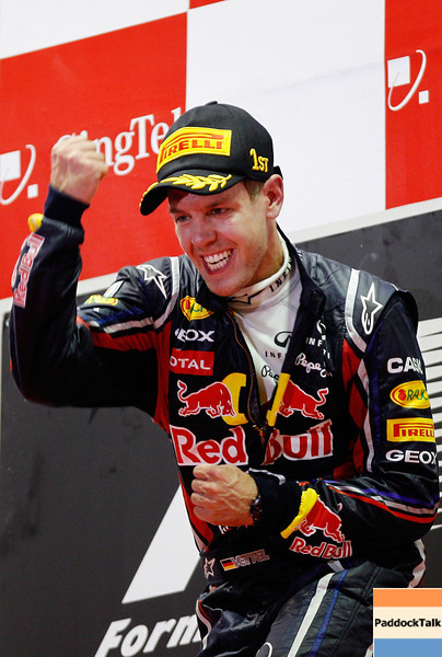 GEPA-25091199031 - FORMULA 1 - Grand Prix of Singapore. Image shows  the rejoicing of Sebastian Vettel (GER/ Red Bull Racing). Keywords: award ceremony. Photo: Getty Images/ Paul Gilham - For editorial use only. Image is free of charge