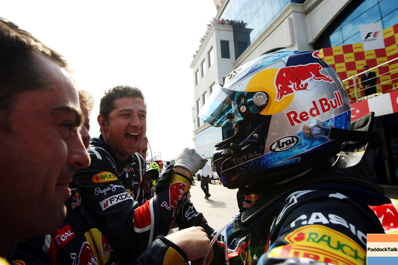 GEPA-08051199012 - FORMULA 1 - Grand Prix of Turkey. Image shows the rejoicing of Sebastian Vettel (GER/ Red Bull Racing).  Photo: Ker Robertson/ Getty Images - For editorial use only. Image is free of charge