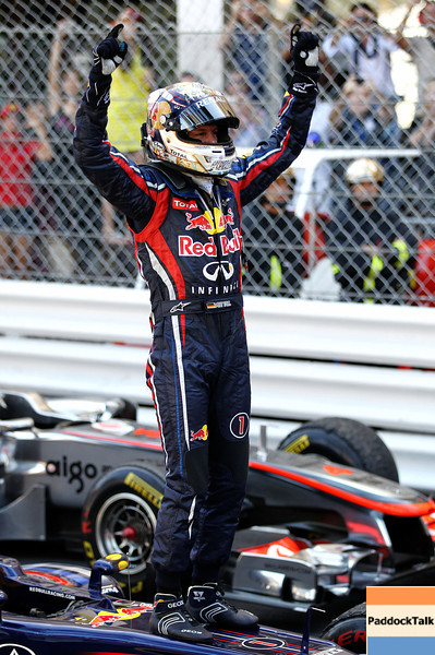 GEPA-29051199018 - FORMULA 1 - Grand Prix of Monaco. Image shows the rejoicing of Sebastian Vettel (GER/ Red Bull Racing). Photo: Paul Gilham/ Getty Images - For editorial use only. Image is free of charge