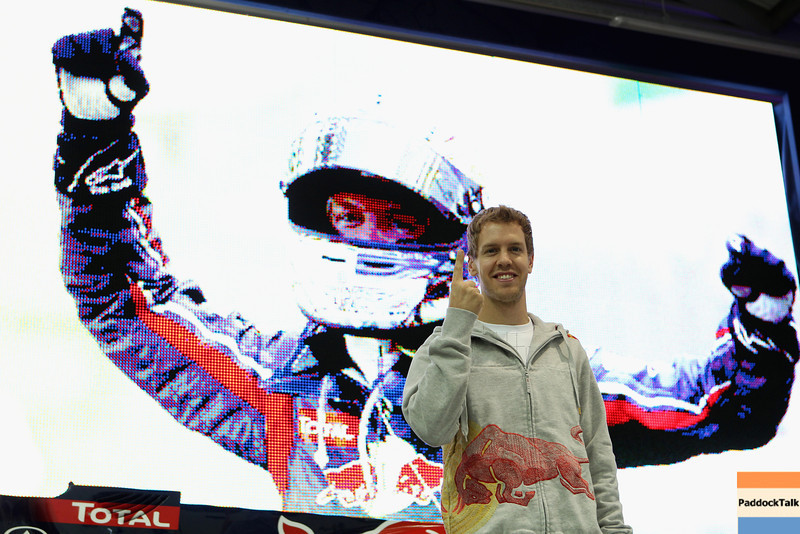 GEPA-19101199005 - FORMULA 1 - Red Bull Racing press conference at the Red Bull Racing factory. Image shows Sebastian Vettel (GER/ Red Bull Racing). Photo: Getty Images/ Dean Mouhtaropoulos - For editorial use only. Image is free of charge