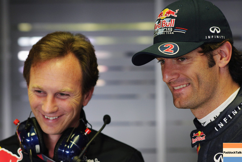 GEPA-09091199008 - FORMULA 1 - Grand Prix of Italy. Image shows Teamchef Christian Horner (Red Bull Racing) and Mark Webber (AUS/ Red Bull Racing). Photo: Getty Images/ Vladimir Rys - For editorial use only. Image is free of charge