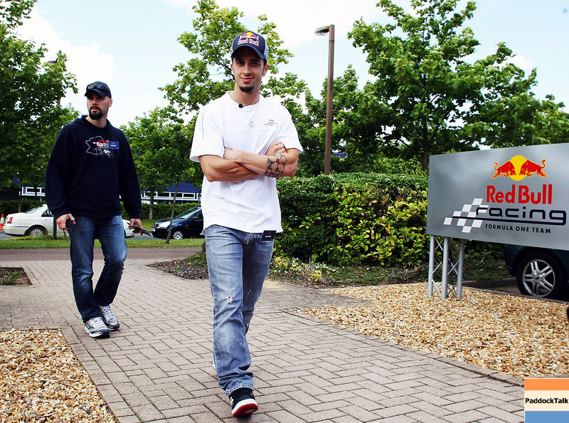 GEPA-08061199024 - FORMULA 1, MOTOGP - MotoGP Riders Visit Red Bull Factory. Image shows Andrea Dovizioso (ITA/ Honda). Photo: Getty Images/ Bryn Lennon - For editorial use only. Image is free of charge