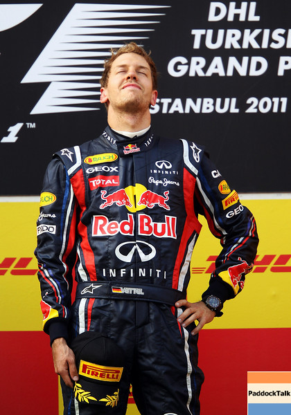 GEPA-08051199020 - FORMULA 1 - Grand Prix of Turkey. Image shows the rejoicing of Sebastian Vettel (GER/ Red Bull Racing). Keywords: podium, award ceremony. Photo: Mark Thompson/ Getty Images - For editorial use only. Image is free of charge