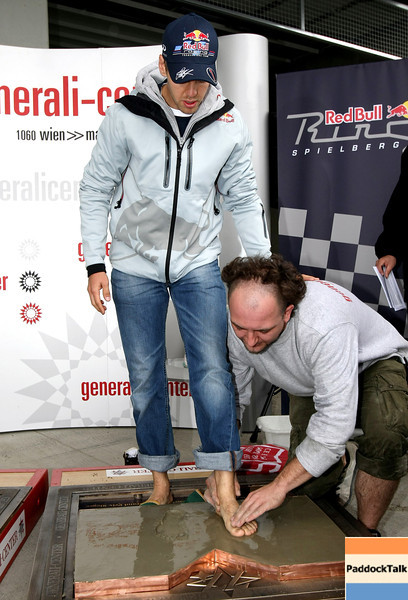 GEPA-15051181026 - SPIELBERG,AUSTRIA,15.MAY.11 - MOTORSPORT - Open House Day Red Bull Ring, project Spielberg, perpetuation of Sebastian Vettel, Strasse der Sieger. Image shows Sebastian Vettel (GER/ Red Bull Racing). Photo: GEPA pictures/ Christian Walgram - For editorial use only. Image is free of charge.
