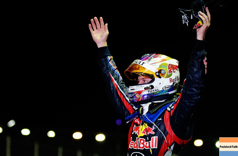 GEPA-25091199028 - FORMULA 1 - Grand Prix of Singapore. Image shows  the rejoicing of Sebastian Vettel (GER/ Red Bull Racing). Photo: Getty Images/ Paul Gilham - For editorial use only. Image is free of charge