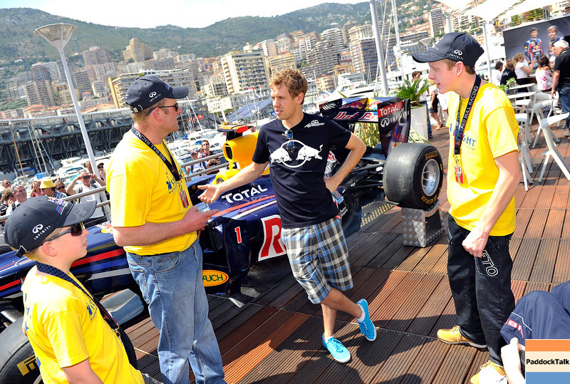 GEPA-28051199503 - FORMULA 1 - Grand Prix of Monaco. Image shows Sebastian Vettel (GER/ Red Bull Racing) on the Red Bull Energy Station. Photo: Gareth Cattermole/ Getty Images - For editorial use only. Image is free of charge