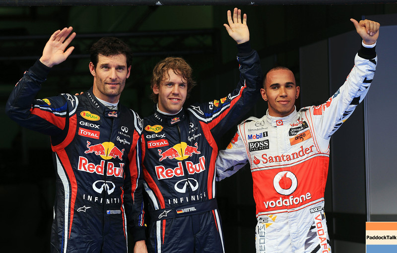 GEPA-09041199010 - FORMULA 1 - Grand Prix of Malaysia, Sepang Circuit. Image shows Mark Webber (AUS), Sebastian Vettel (GER/ Red Bull Racing) and Lewis Hamilton (GBR/ McLaren Mercedes).   Photo: Getty Images/ Mark Thompson - For editorial use only. Image is free of charge