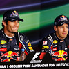 GEPA-23071199020 - FORMULA 1 - Grand Prix of Germany, Nuerburgring, press conference. Image shows Mark Webber (AUS) and Sebastian Vettel (GER/ Red Bull Racing). Photo: Getty Images/ Mark Thompson - For editorial use only. Image is free of charge