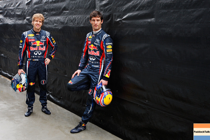 GEPA-24031199008 - FORMULA 1 - Grand Prix of Australia, preview, photo shoot. Image shows Sebastian Vettel (GER) and Mark Webber (AUS/ Red Bull Racing). Photo: Getty Images/ Mark Thompson - For editorial use only. Image is free of charge