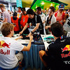 GEPA-10041199005 - FORMULA 1 - Grand Prix of Malaysia, Sepang Circuit. Image shows Sebastian Vettel (GER) and Mark Webber (AUS/ Red Bull Racing). Keywords: autograph session. Photo: Getty Images/ Mark Thompson - For editorial use only. Image is free of charge