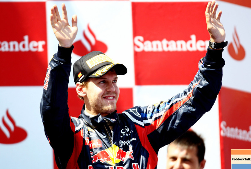 GEPA-22051199020 - FORMULA 1 - Grand Prix of Spain. Image shows the rejoicing of Sebastian Vettel (GER/ Red Bull Racing). Keywords: award ceremony. Photo: Paul Gilham/ Getty Images - For editorial use only. Image is free of charge