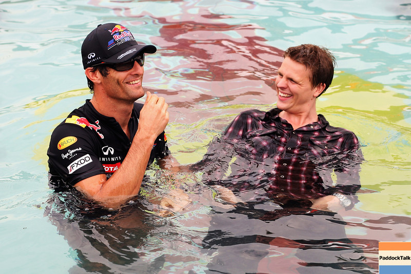 GEPA-25051199000 - FORMULA 1 - Grand Prix of Monaco. Image shows Mark Webber (AUS/ Red Bull Racing) und Jake Humphrey (BBC) in the Red Bull Energy Station pool. Photo: Ker Robertson/ Getty Images - For editorial use only. Image is free of charge