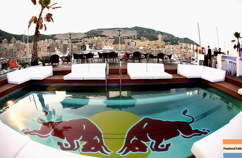 GEPA-28051199507 - FORMULA 1 - Grand Prix of Monaco. Image shows the Red Bull Energy Station. Keywords: swimming pool. Photo: Gareth Cattermole/ Getty Images - For editorial use only. Image is free of charge